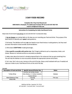 3 Day Food Record
